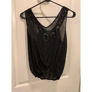 Black tank-top with detailed back